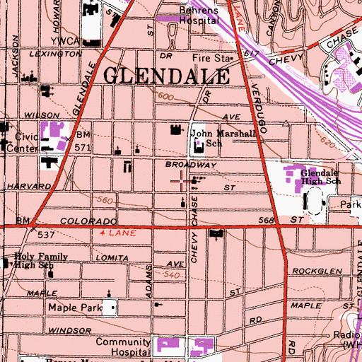 Topographic Map of Glendale Missionary Baptist Church, CA