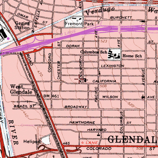Topographic Map of Glendale Community Church of God, CA