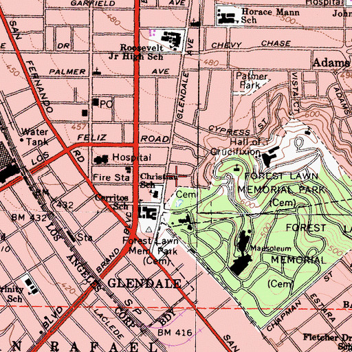 Topographic Map of Alliance Convalescent Hospital, CA