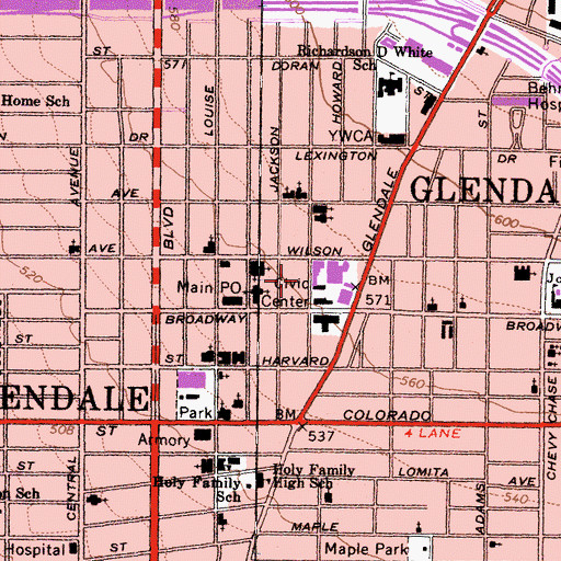 Topographic Map of Glendale Police Department, CA
