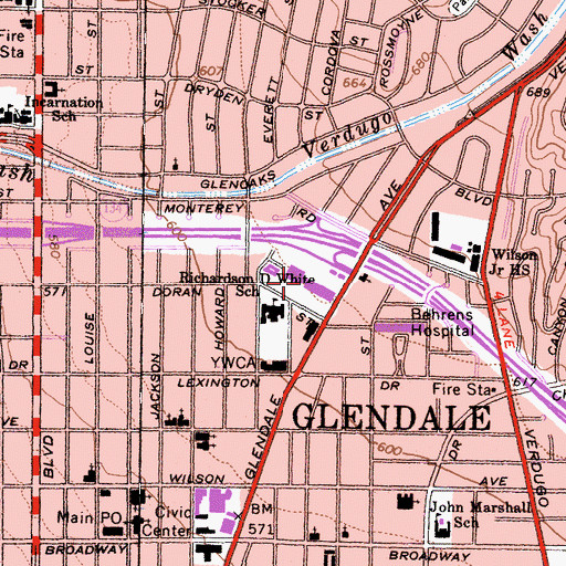 Topographic Map of Glendale Plaza Shopping Center, CA