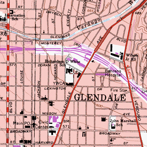 Topographic Map of Glendale Health Center, CA