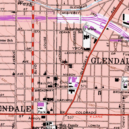Topographic Map of Glendale Seventh Day Adventist Church, CA