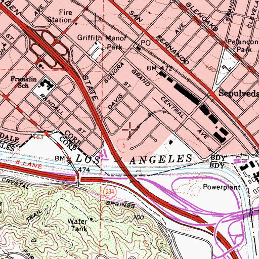 Topographic Map of Grand Central Industrial Centre, CA