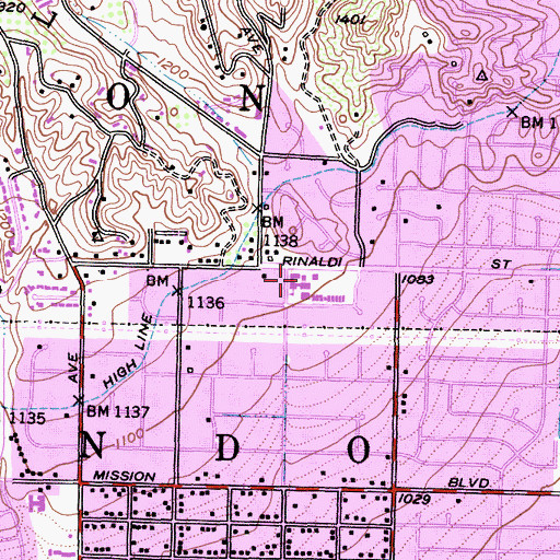 Topographic Map of Rinaldi Adult School Center, CA