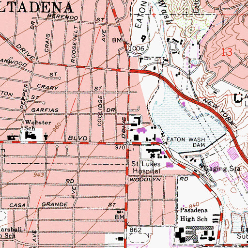 Topographic Map of Pasadena Jewish Center, CA