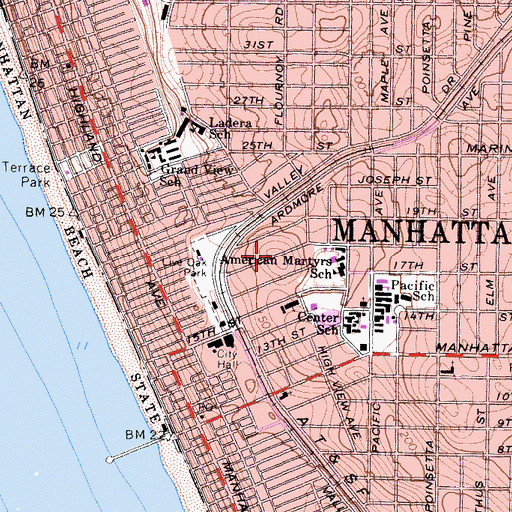 Topographic Map of Manhattan Beach Military Reservation (historical), CA