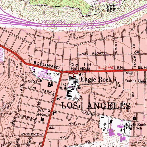 Topographic Map of Highland Park Seventh Day Adventist Church, CA