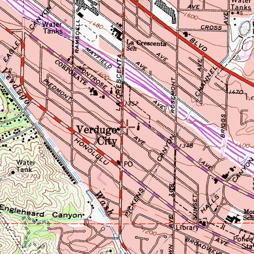 Topographic Map of Crescenta Valley United Methodist Church, CA