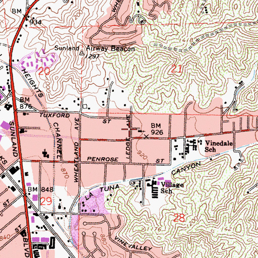Topographic Map of Faith Baptist Church, CA