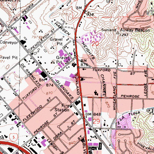 Topographic Map of Sun Valley United Methodist Church, CA