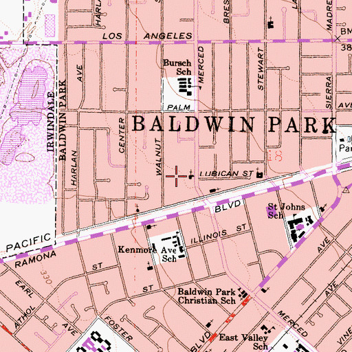 Topographic Map of Baldwin Park Free Will Baptist Church, CA