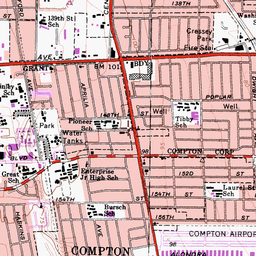 Topographic Map of Compton Christian Fellowship Church, CA