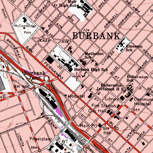 Topographic Map of Burbank Evangelical United Brethren Church (historical), CA