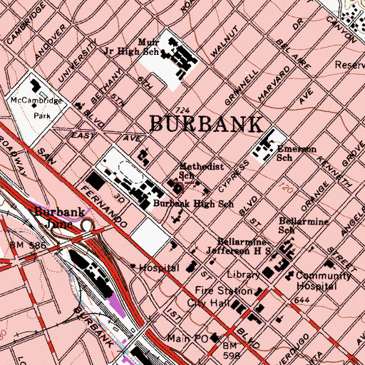 Topographic Map of Emmanuel Church, CA