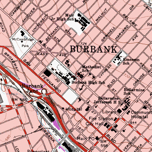 Topographic Map of First Methodist Church of Burbank, CA