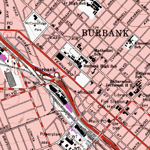 Topographic Map of Burbank Evening School, CA