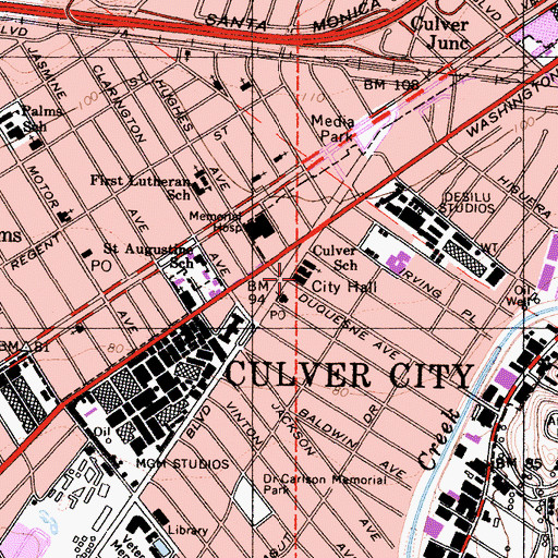 Topographic Map of Culver City Hall, CA