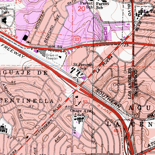 Topographic Map of Saint Jerome Catholic Church, CA