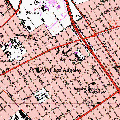 Topographic Map of West Los Angeles Holiness Church, CA
