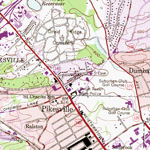 Topographic Map of Baltimore County Fire Department Station 2 Pikesville, MD