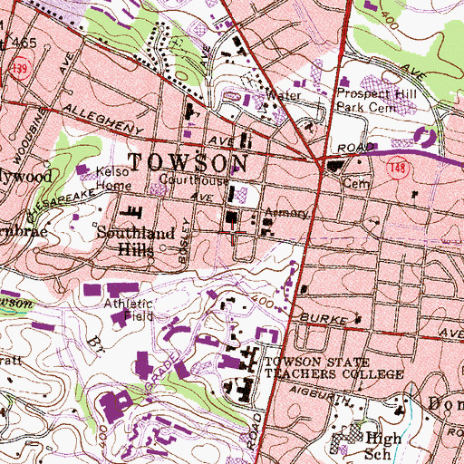Topographic Map of Baltimore County Police Department Precinct 6 - Towson, MD