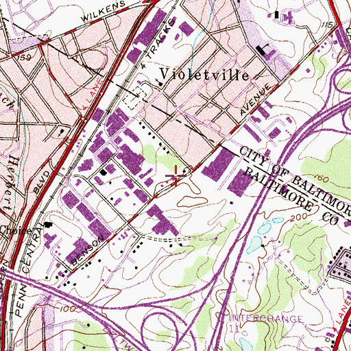 Topographic Map of Violetville Volunteer Fire Department Station 34, MD
