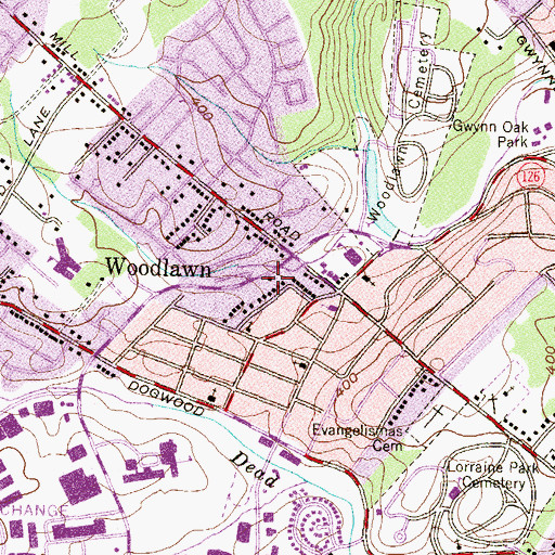Topographic Map of Woodlawn Volunteer Fire Company Station 33, MD