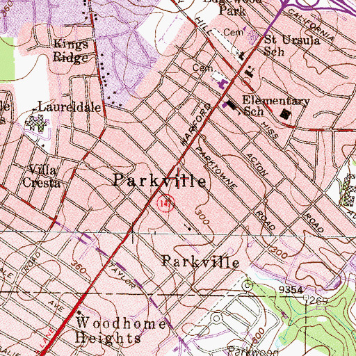 Topographic Map of Parkville Post Office, MD