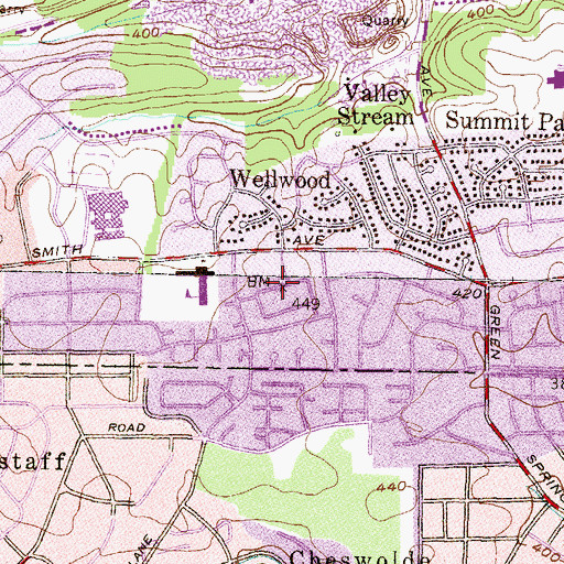 Topographic Map of Greenspring Shopping Center, MD
