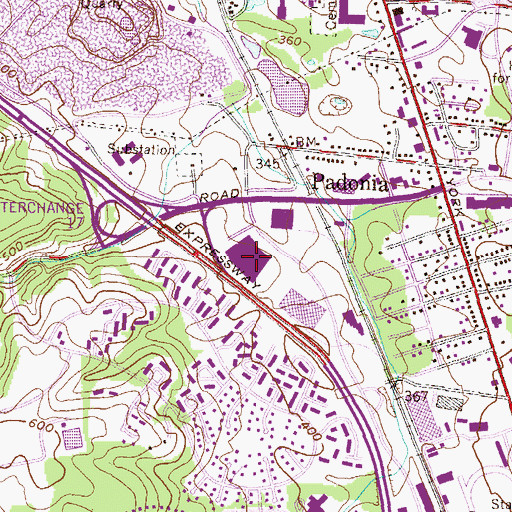 Topographic Map of Padonia Corporate Center, MD