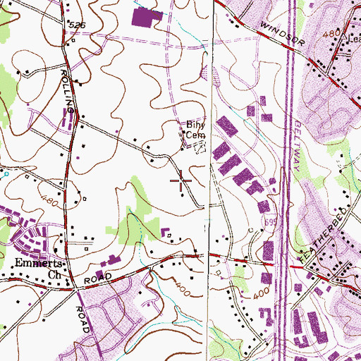 Topographic Map of Windsor Corporate Park, MD