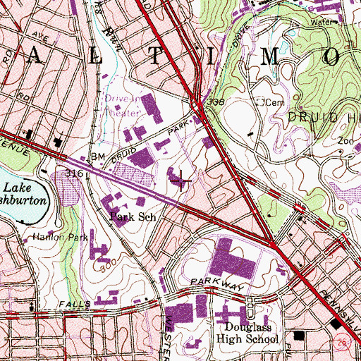 Topographic Map of Liberty Medical Center, MD
