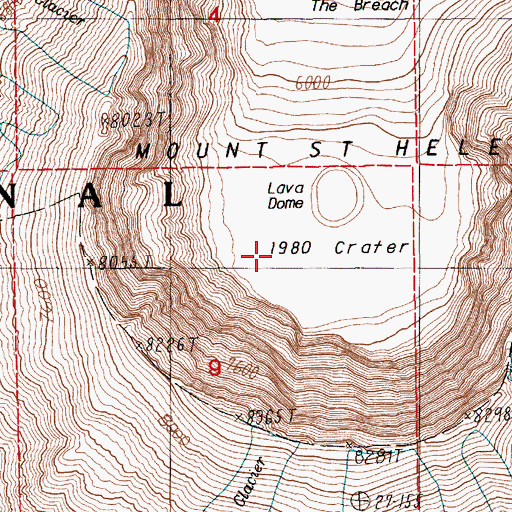 Topographic Map of Crater Glacier, WA