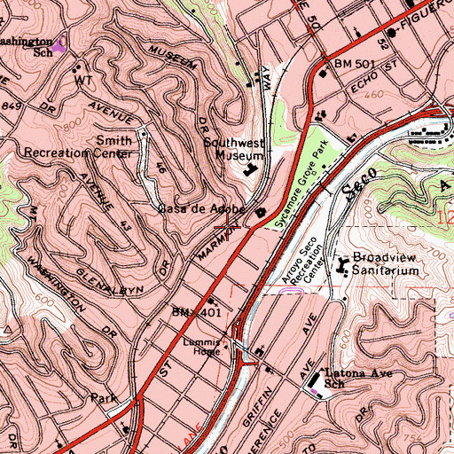 Topographic Map of Sycamore Park Convalescent Hospital, CA