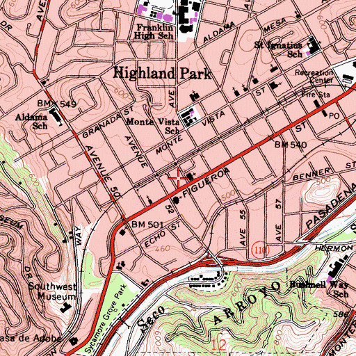 Topographic Map of Highland Park Presbyterian Church, CA