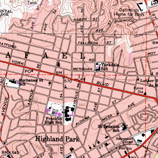 Topographic Map of Highland Park Four Square Gospel Church, CA