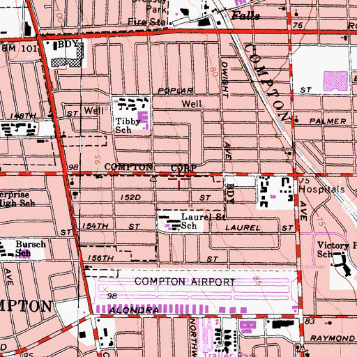 Topographic Map of Compton Community Seventh Day Adventist Church, CA