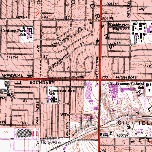 Topographic Map of Imperial Heights Community Church, CA