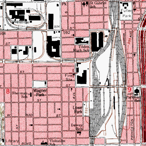 Topographic Map of Chicago Engine Company 50, IL