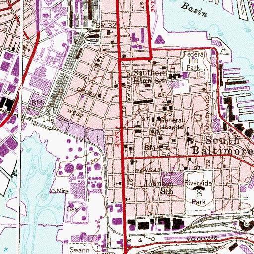 Topographic Map of Baltimore City Fire Station 34, MD