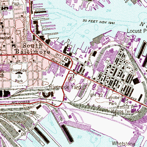 Topographic Map of Baltimore City Fire Station 35, MD