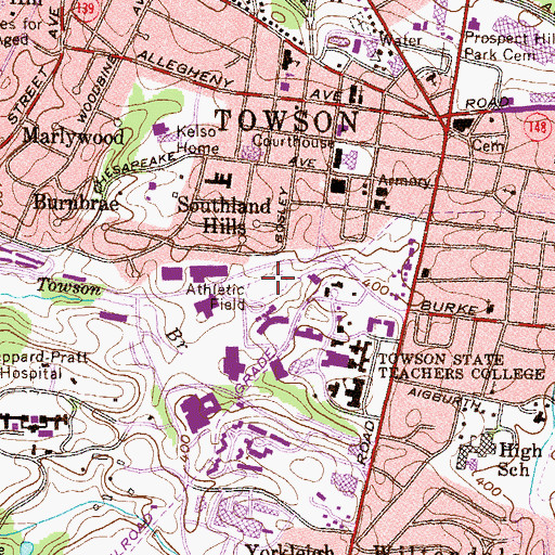 Topographic Map of Towsontown Parking Garage, MD