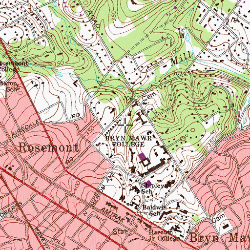 Topographic Map of Bern Schwartz Gymnasium, PA