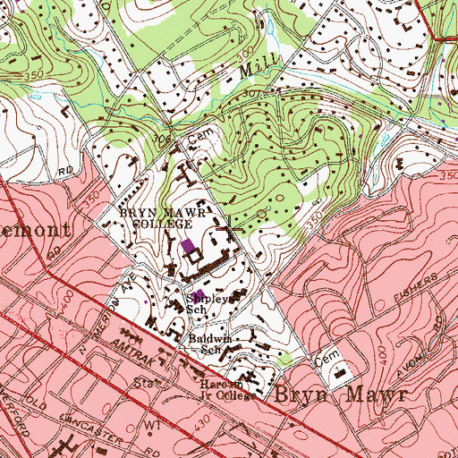 Topographic Map of Denbigh Residence Hall, PA