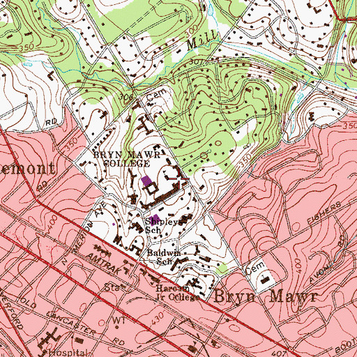 Topographic Map of Eugenia Chase Guild Hall, PA