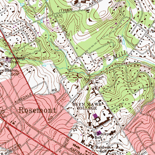 Topographic Map of Jane Batten House, PA