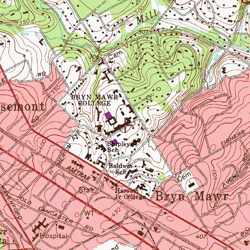 Topographic Map of Pembroke East and West, PA