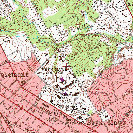 Topographic Map of Radnor Residence Hall, PA