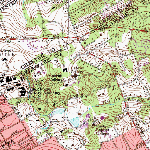 Topographic Map of Founder's Hall, PA